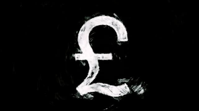 art british pound symbol - simbolo della sterlina video stock e b–roll