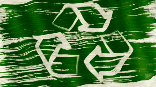 Art brush watercolor painting of white Recycle logo symbol or recycling arrows on green flag blown in the wind. Green recycle concept. video