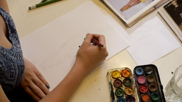 Art Class. Fashion Students Drawing Women's Fashions. Eastern Europe: Lifestyle video
