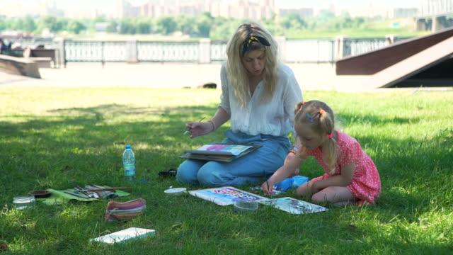 Art Class for Little Girl in the City Park