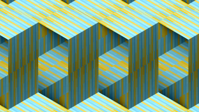 Art pattern with multi colored striped boxes. 3d rendering seamless loop animation background. HD resolution