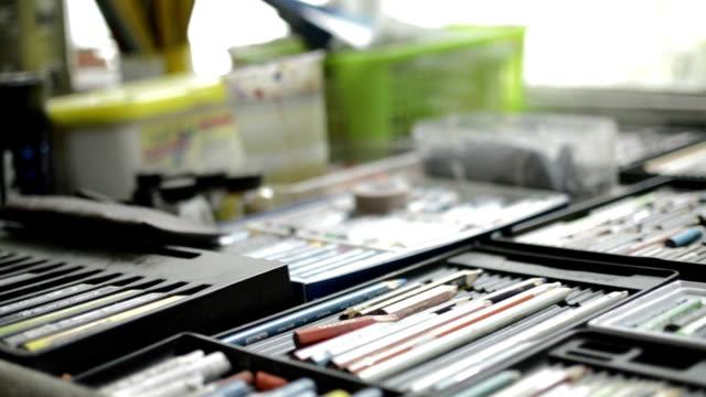 Art studio materials. video