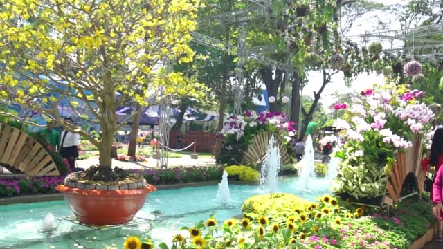 Artfully decorated park flower festival