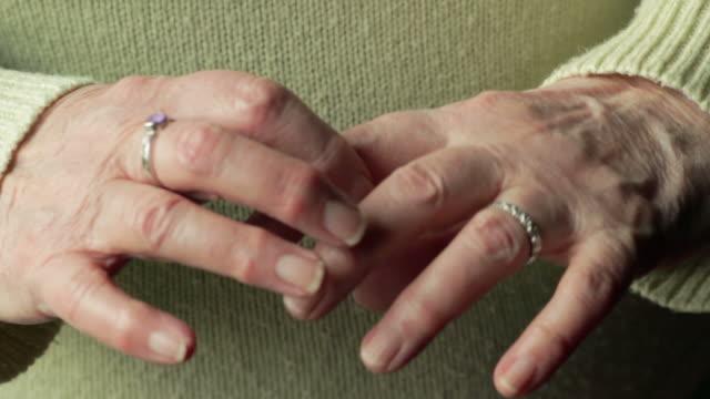 Arthritic hands, close-up video