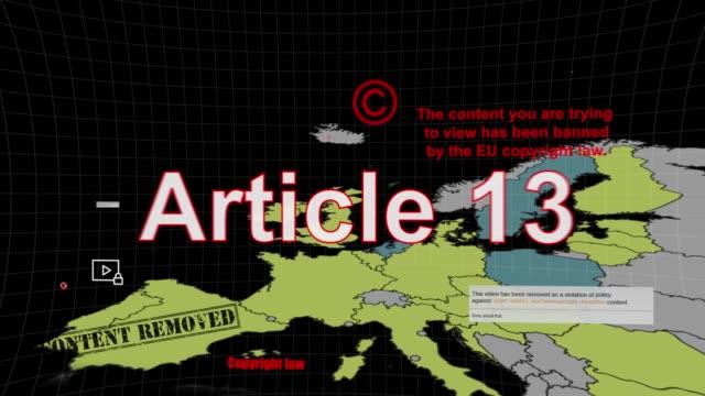 article 13 copyright europe - censura video stock e b–roll