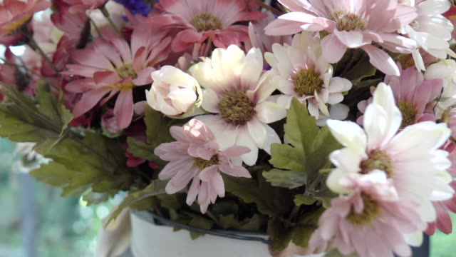Artificial Flowers in coffee shop video
