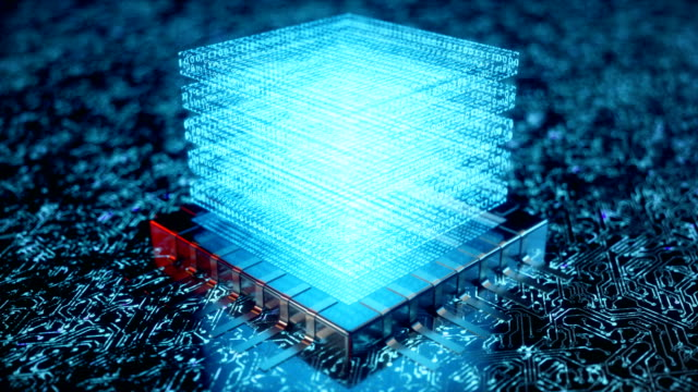 ki künstliche intelligenz konzept cpu. maschinelles lernen. zentrale computerprozessoren auf der platine mit leuchtenden spuren. kodierte daten, binärcode. 3d-animation - vereinen stock-videos und b-roll-filmmaterial