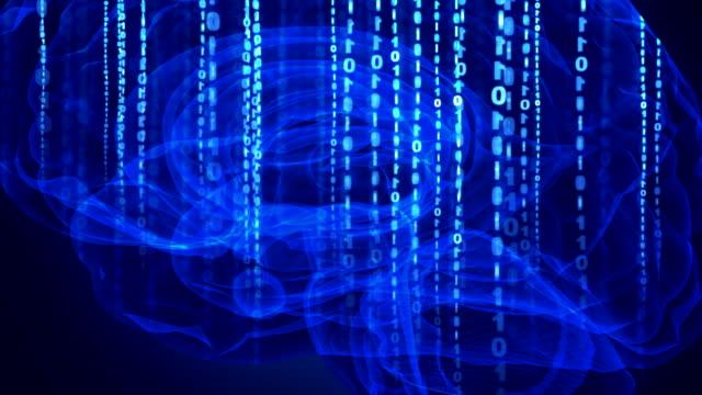 vídeos de stock e filmes b-roll de artificial intelligence concept - bit código binário