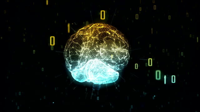 Artificial Intelligence, digital brain in a cloud of binary data video