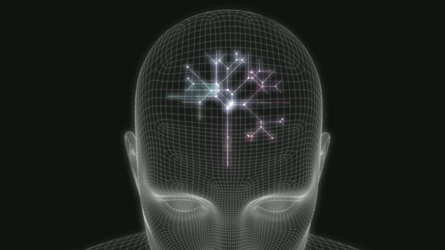 Artificial Intelligence Head on a Digital Background Art