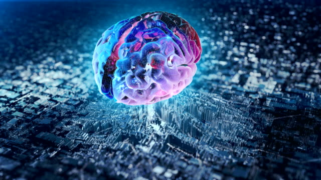 Video Artificial intelligence. Holographic brain transfering data from mother board