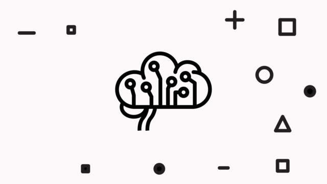 Artificial Intelligence Line Icon Animation With Alpha