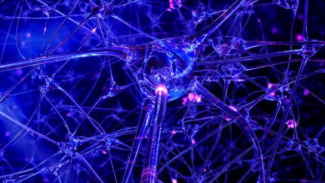 Artificial Intelligence. Passing through the neural network of a computer brain of a robot of one of the impulses. Looped
