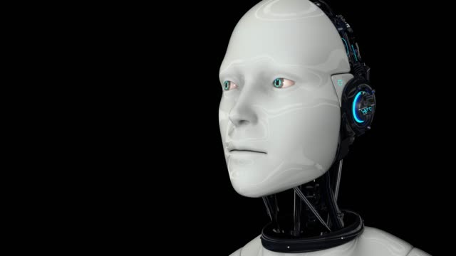 Artificial intelligence. Robot android is activated, moves its head, eyes and scans the environment. The camera moves away. 4K. 3D animation. On a black background.