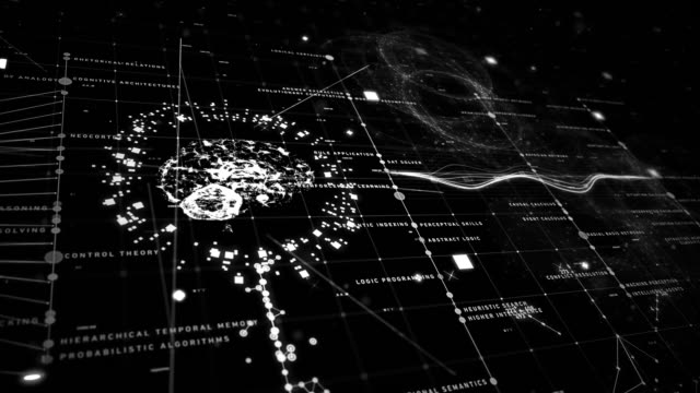 vídeos de stock e filmes b-roll de artificial intelligence tecno grid - filosofia