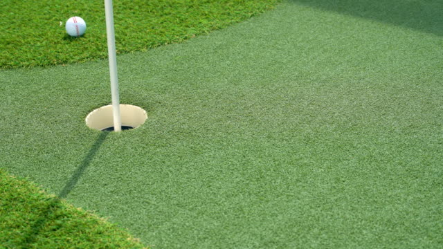 Artificial putting green on deck of cruise ship with the golf ball missing video