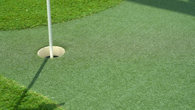 Artificial putting green on deck of cruise ship with the golf ball sinking video