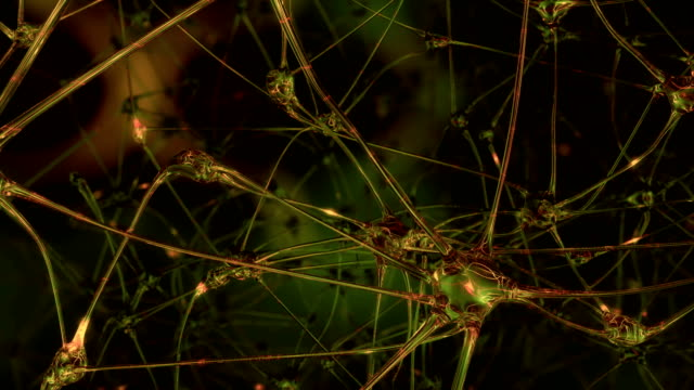 Artificial reason. Journey through a network of artificial neural cells and synapses in the brain of a robot, through which electrical impulses and discharges pass