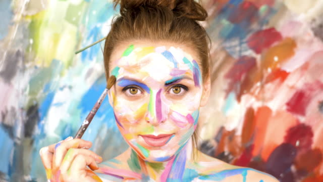 Artist Paints applying make up. Woman-Picture. Slow motion. 4K UHD. video
