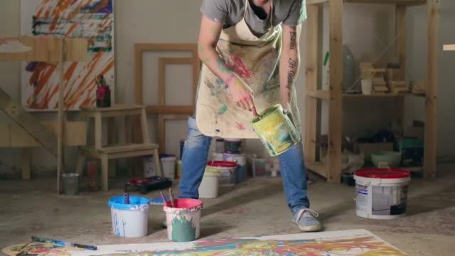 Artist Working on Splatter Painting video