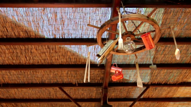Artistic design hanging on canopy in a typical outdoor Greek tavern video