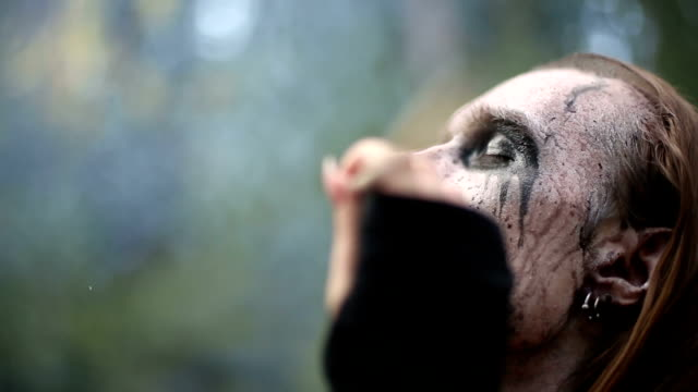 Artistic makeup for footages actors about Paganism. Artistic makeup for footages actors about Paganism. greasepaint stock videos & royalty-free footage