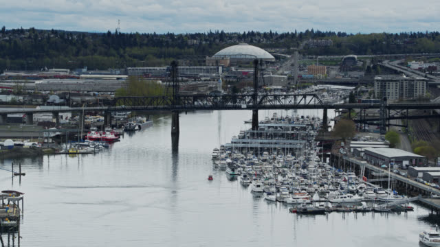 Ascending Aerial Shot of the Thea Foss Waterway, Tacoma