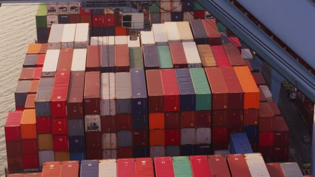 Ascending Drone Flight Over Container Ship in Port video