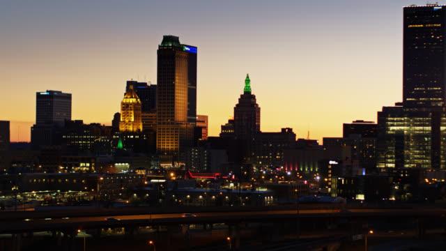 Ascending Drone Shot of Downtown Tulsa Lit Up at Dusk video