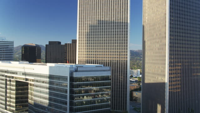 Ascending Drone Shot of Office Towers in Century City, Los Angeles video