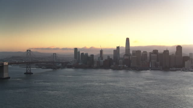 Ascending Drone Shot of San Francisco and the Bay Bridge at Sunset video