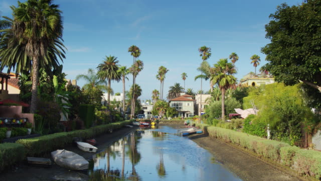 Ascending Drone Shot of the Venice Canal Historic District