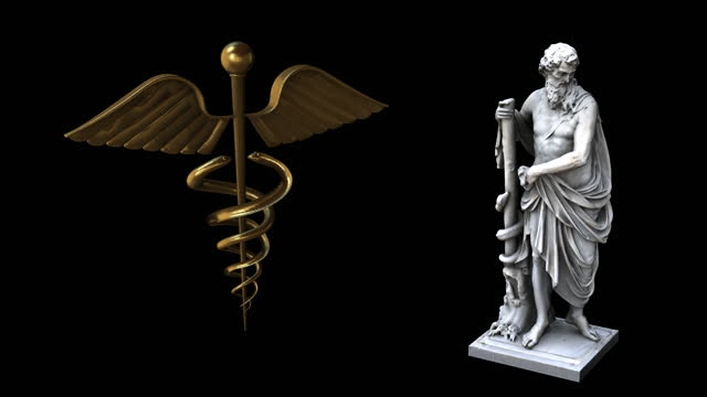 Asclepius statue rotation Dx whit Caduceus video