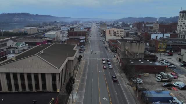 Ashland, Kentucky, USA. Aerial drone video with the forward camera motion.