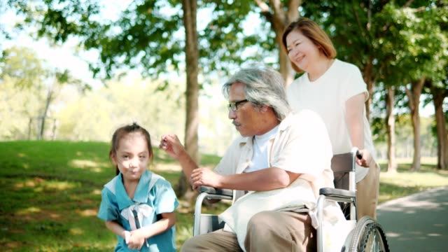 asia family relaxed on holiday in park,grandfather sit on wheelchair.slow motion - nonna e nipote camminare video stock e b–roll