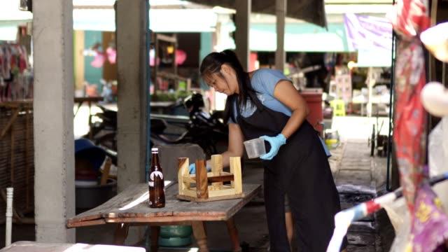 asia lady make mini wood chair - poliuretano polimero video stock e b–roll