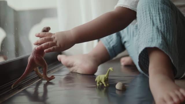 asiatisk pojke leker med leksak dinosaurier i rum - dinosaurie bildbanksvideor och videomaterial från bakom kulisserna