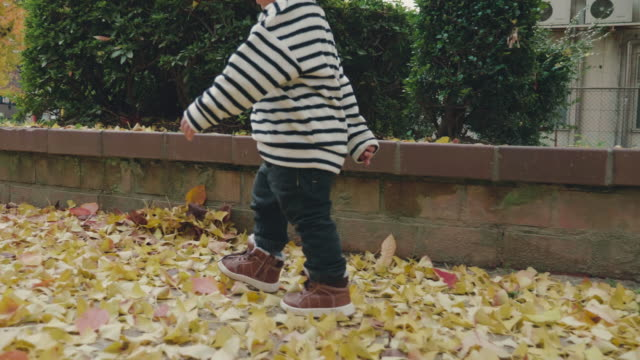 Asian baby boy running in the park Asian mother and baby playing in autumn park baby booties stock videos & royalty-free footage