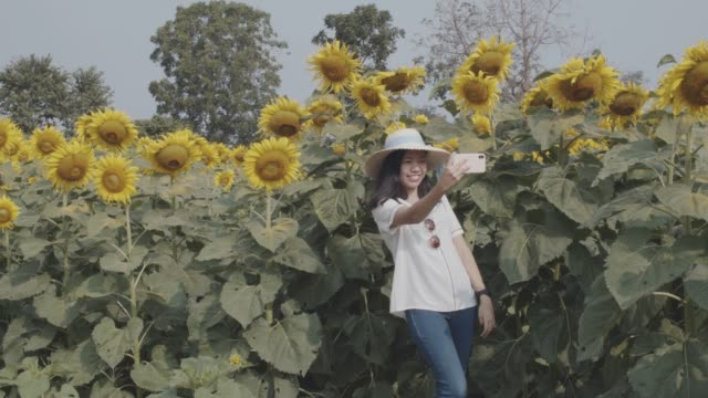 Asian beautiful young woman walking and take photo in sunflower field landscape background.Concept of travel in summer season at Thailand.