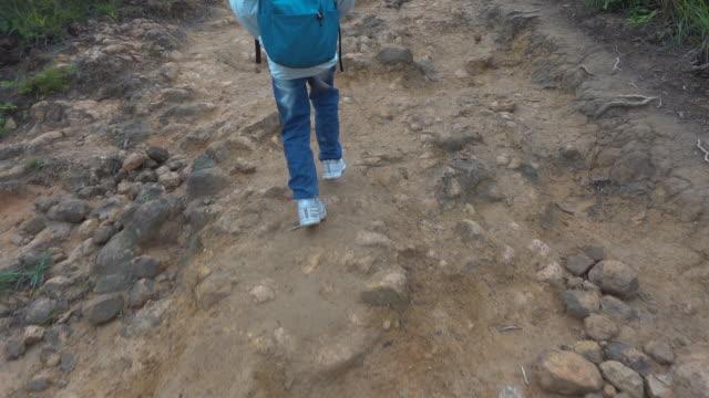 Asian boy hiking along mountain trail