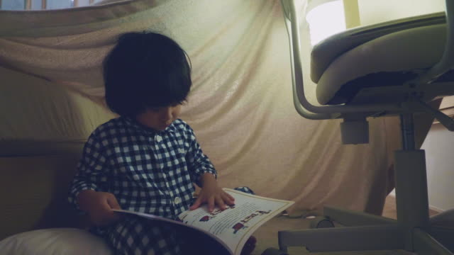 Asian boy reading a fairy tale with flashlight under a blanket fort A little asian boy is sitting reading book in his homemade tent at home. fort stock videos & royalty-free footage