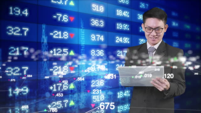 Asian business man and stock exchange market data price background, smart business finance investor consult, money exchange, crypto currency invest trading money EA trading technology.