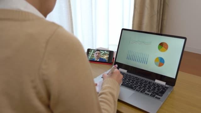 自宅からビデオ電話会議を行っているアジアのビジネスの人々 - テレビ会議 日本人点の映像素材/bロール