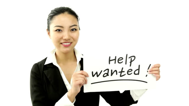 asian business woman isolated looking to hire video