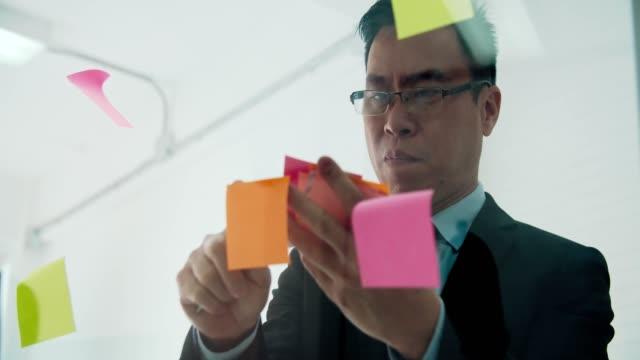 Asian businessman sharing business strategy plan idea