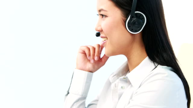 asian businesswoman on a call - call center stock videos and b-roll footage