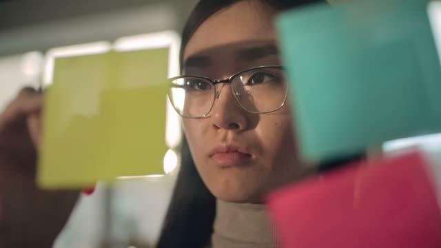 Asian Businesswoman Writing Ideas video