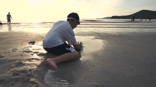asian child has fun digging in the sand. young boy enjoying on beach. - solo bambini maschi video stock e b–roll