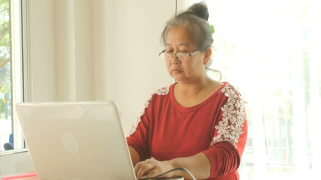 Asian elderly women in glasses works at home on laptop video