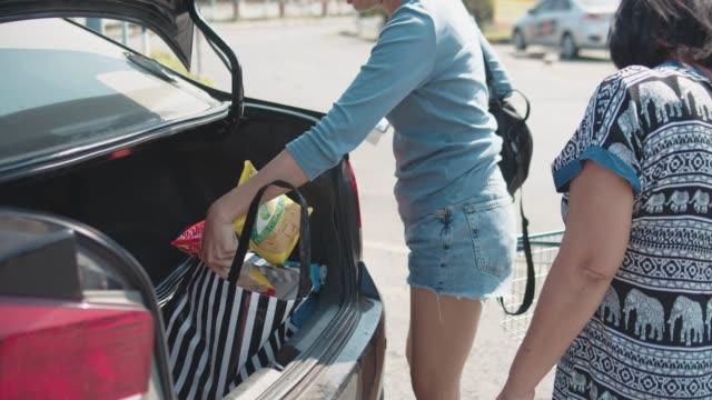 Sacs d'épicerie asiatique charge familiale derrière la voiture - Vidéo